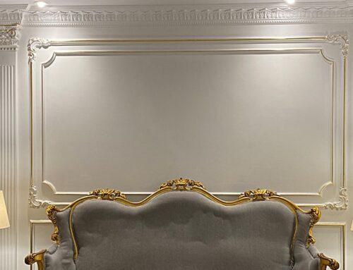 مراحل طراحی، نصب، رنگ آمیزی و ورق طلای ابزار پلی یورتان در شوروم درنیکا دکور